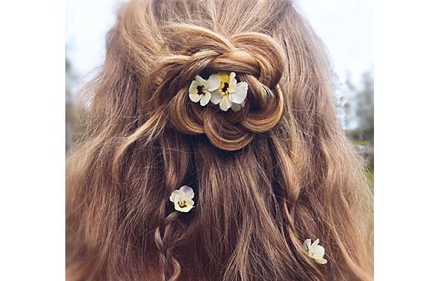 Half-up braided bun hairstyle for short hair