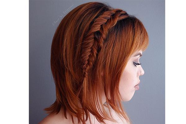 Fishtail crown braid hairstyle for short hair