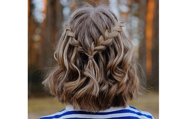 Twin braids hairstyle for short hair